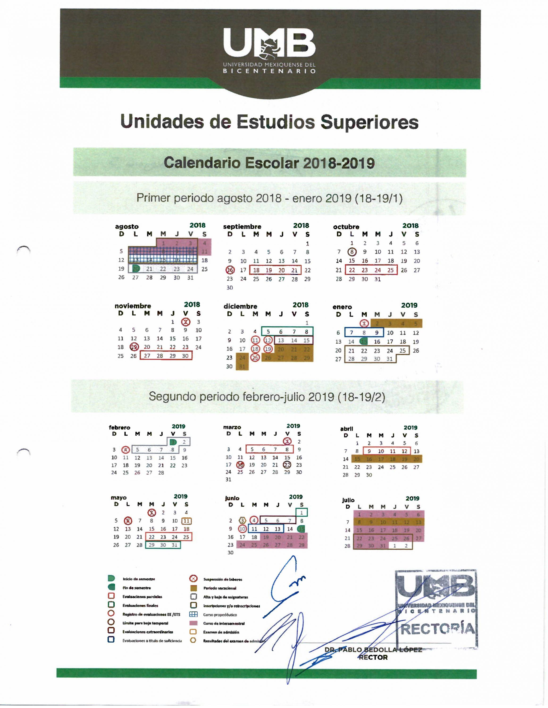 Umv Calendario.Calendario Escolar Universidad Mexiquense Del Bicentenario
